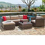 SUNCROWN Outdoor Patio Furniture Sectional Sofa and Chair (6-Piece Set) All-Weather Brown Wicker with Seat Cushion and Modern Glass Coffee Table, Garden, Backyard, Pool, Waterproof Cover