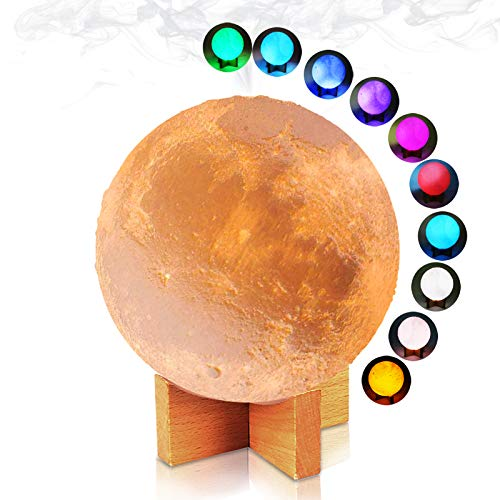 3D Lunar Moon Lamp Night Light 7 Colors Cool Mist Humidifier 880ml Room Diffuser for Bedroom Home Office with Stand