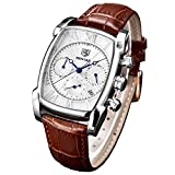 Mens Classic Square Chronograph Watches for Men Waterproof Retro Rectangle Wrist Watch with Brown Leather Strap and Silver Case
