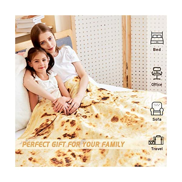 Casofu Burritos Blanket Giant Flour Tortilla Throw Blanket Novelty Tortilla Blanket For Your Family Soft And Comfortable Flannel Taco Blanket For Kids Yellow 60 Inches