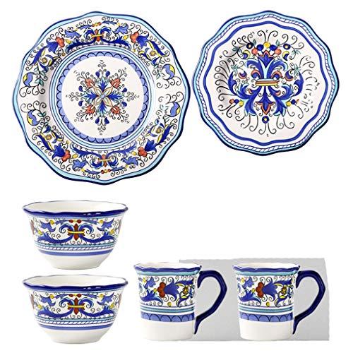ZLDGYG 6 Piezas American Retro Cerámica Vajilla Conjunto Moda Pintado Mano Flowe Flowe Bowl Bowl Bown Bown Breakfast Placa Taza Combinación