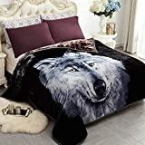 JYK Heavy Korean Faux Mink Fleece Blanket, 5 LB - 2 Ply Reversible 520GSM Silky Soft Plush Warm Blanket for Autumn Winter (Queen, Dark Wolf/Wolf)
