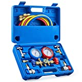OMT 3 Way AC Diagnostic Manifold Gauge Set for Freon Charging, Fits R134A R12 R22 and R502 Refrigerants, with 5FT Hose, ACME Tank Adapters, Adjustable Couplers and Can Tap