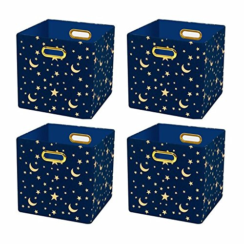 Posprica Collapsible Cube Organizers,Storage Cube Bins Boxes Basket Containers Drawers for Nurseries,Offices,Closets,Home Décor (11''/4pcs, Stars)