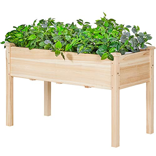 AMERLIFE Raised Garden Bed 4x2.5x2 FT Elevated Wooden Planter Box Stand with Legs for Vegetable...
