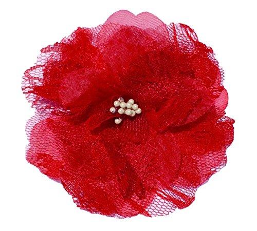 Cuteque International Viktorianische Spitzenrose mit Kunstperlenstempeln, 10 cm, Rot, 3 Stück