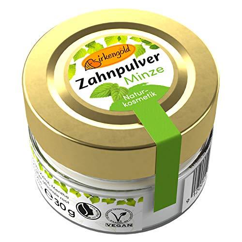 Birkengold Zahnpulver Minze 30 g Glas, 1 Stück, plastikfrei, im Glastiegel verpackt, 100% natürliche Zutaten, keine Schaumbildner und Konservierungsstoffe, Naturkosmetik zertifiziert, vegan