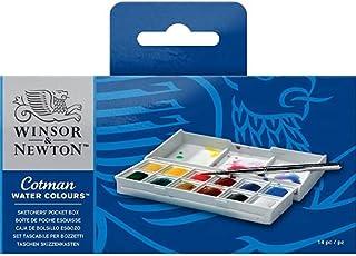 """Winsor & Newton Cotman Boîte De Peinture Aquarelle En Plastique Avec 12 1/2 Godets """"Sketcher"""""""