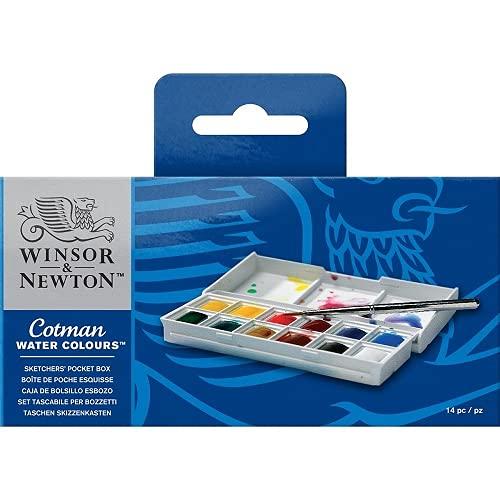 Winsor & Newton acuarela Cotman - Caja de acuarela Sketcher - set de 12 medio godets, colores surtidos