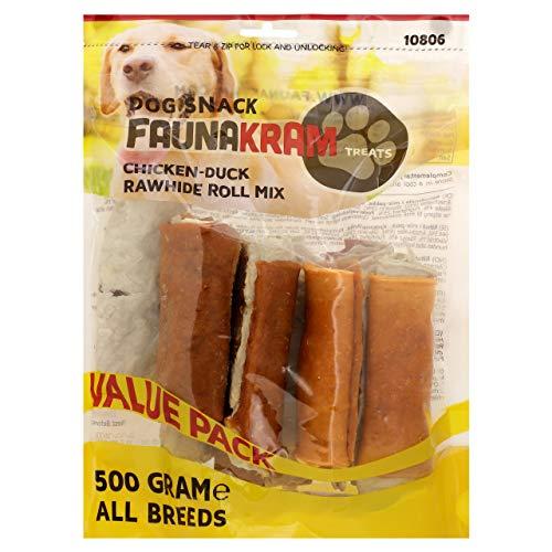 Faunakram Kausnack mit dreifachem Geschmack für Hunde: Kaurollen Rohleder mit Hühnchen und Rohleder mit Ente. 500g Value Pack