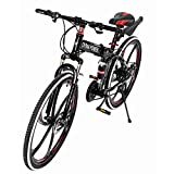 acction Outroad Mountain Bike for Adults, 21 Speed 26 inch Folding Bike Double Disc Brake Bicycles,Outdoor Racing Cycling,High Carbon Steel Frame,Shock Absorber Spring,Fast-Speed Comfortable (Red)
