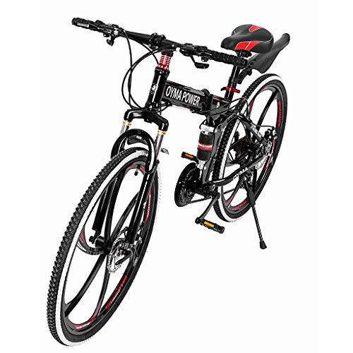 Y56 Folding Outroad Mountain 26in MTB Cruiser Bike 21 Speed 6 Spoke Double Disc Brake Bicycle Folding Bike for Adult Teens (Ship from US) (Black & Red)