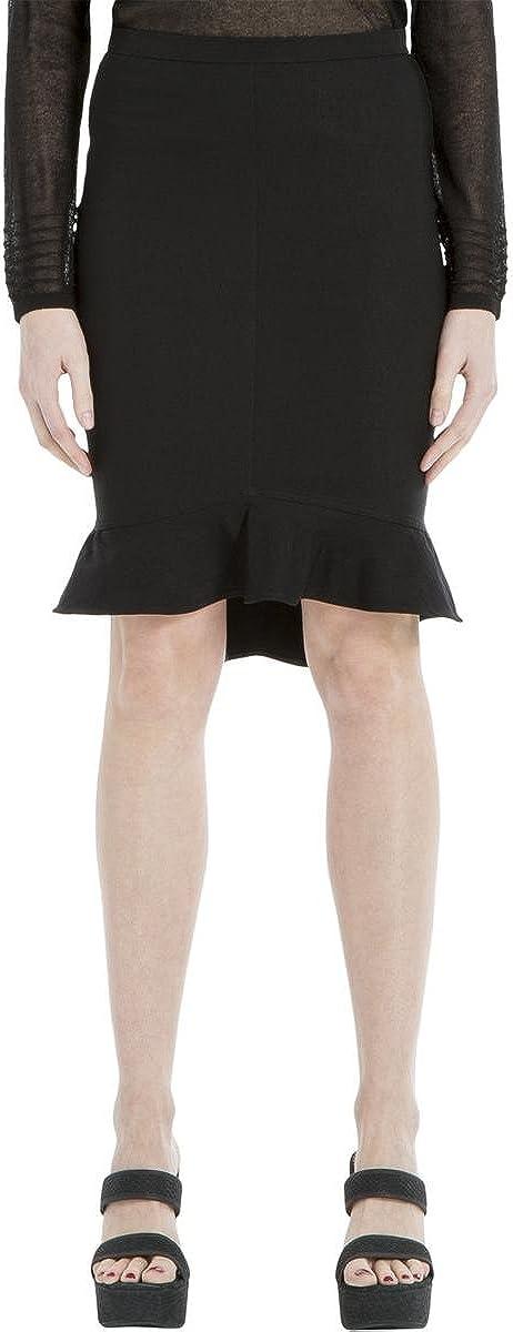 Max Studio London Womens Flounce Pencil Skirt, Black, Small