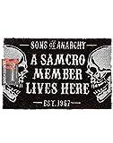 Sons Of Anarchy Puerta Mat Negro cráneo SAMCRO Un tamaño