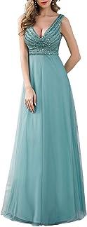 Ever-Pretty Vestiti da Cerimonia Scollo a V Linea ad A Elegante Lungo Tulle Donna con Paillettes a Banda 00785