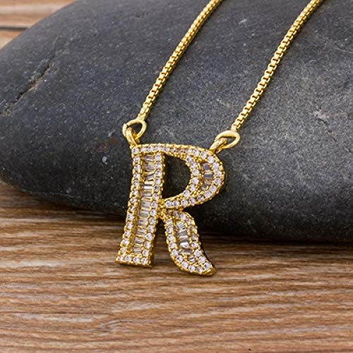 FQSCX Necklace Pendant Jewelry Gold Color A-Z 26 Letters Necklace CZ Pendant for Women Cute Initials Name Necklace Fashion Party Wedding Jewelry Gift R