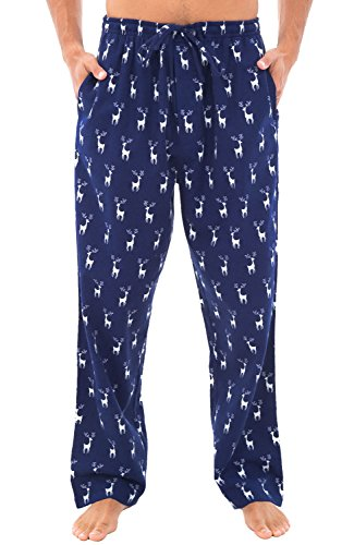 Alexander Del Rossa Men's Lightweight Flannel Pajama Pants, Long Cotton Pj Bottoms, 2XL Reindeer on Navy Blue (A0705Q802X)
