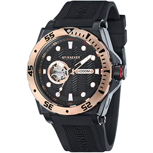 SPINNAKER Men's Overboard 46mm Black Silicone Band Automatic Watch SP-5023-0F