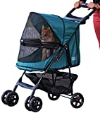 Pet Gear No-Zip Happy Trails Pet Stroller for Cats/Dogs, Zipperless Entry, Easy Fold with Removable Liner, Storage Basket + Cup Holder, Emerald