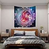 N / A Boho Tarot Sol y Luna Tapiz Colgante de Pared decoración Chakra Alfombra psicodélica brujería Tela de Pared Abstracta A8 200x150cm