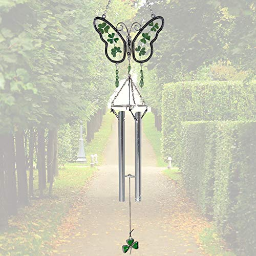 BANBERRY DESIGNS Irish Sun Catcher Windchimes - Butterfly Wind Chimes with Real Pressed Green Shamrock Wings - St. Patrick's Day Decorations Garden