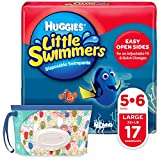 Huggies Little Swimmers Disposable Swim Diapers, Swimpants, Size 5-6 Large (Over 32 Pound), 17 Count, with Huggies Wipes Clutch 'N' Clean Bonus Pack (Packaging May Vary)