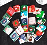 Megrocle 24 Pack of Mini Christmas Greeting Cards & Envelopes - 24 Designs Xmas Party Supplies Invitation Perfect hand delivery Christmas Cards-2.7 x 2.7 Inches