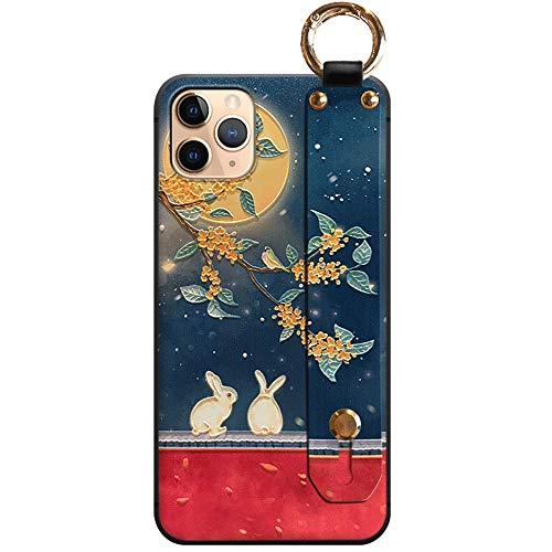 TARATI スマホケース Iphone8 Iphone SE ケース 第2世代宮壁美人 立体的なプリントiphone7ケース 片手操作、落下防止スマホベルト付き お洒落中華風スマホケース高級感手触り 個性プレゼント(月下宮兔)