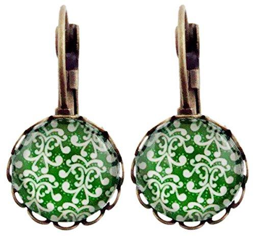 Pendientes Miss Lovie de estilo vintage con flores y cabujón, 12 mm, color verde y bronce