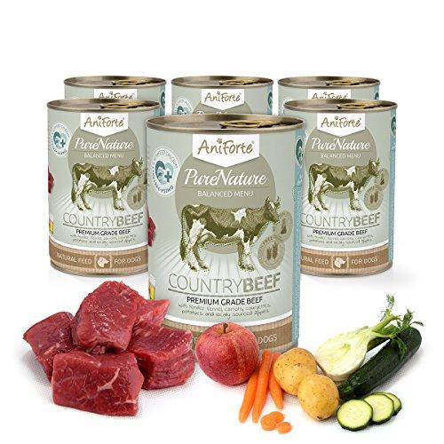 AniForte PureNature - Alimento para perros húmedos (6 x 400 g), natural, delicioso, sin granos y con carne fresca, vitaminas y minerales