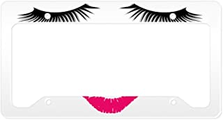 CafePress Lipstick and Eyelashes Aluminum License Plate Frame, License Tag Holder