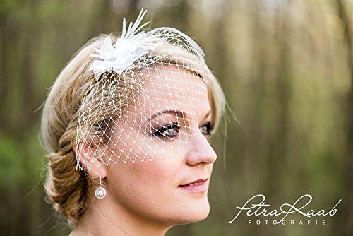 Brautschleier Hochzeit Wedding birdcage bride Braut Röschen elfenbein weiß Blüte 30B