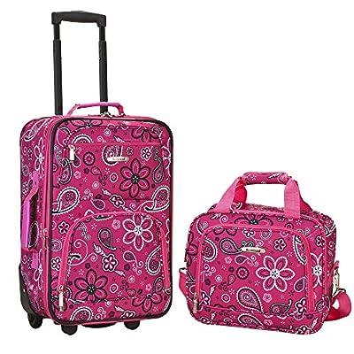 Rockland Luggage 2 Piece Printed Luggage Set, Pink Bandana, Medium
