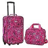Rockland Fashion Softside Upright Luggage Set, Pink Bandana, 2-Piece (14/20)