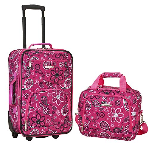 Rockland Fashion Softside Upright Luggage Set, Pink Bandana, 2-Piece (14/20)