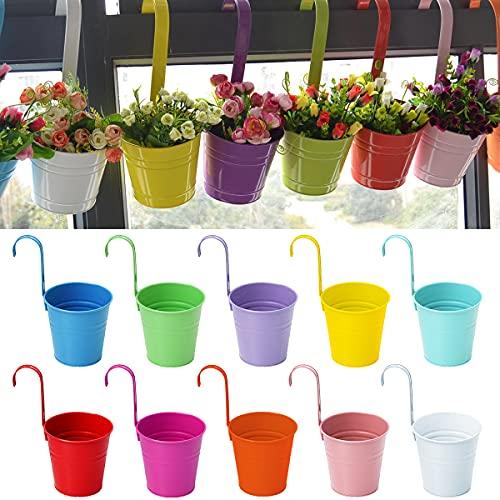 BoloShine 10 Pièces Pot de Fleurs en Métal à Suspendre, Pots de Fleurs Suspendu Mur Seau en Métal à Suspendre avec Crochet Amovible pour Jardin Balcon Clôture Décoration