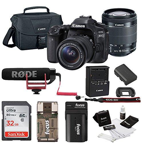 Canon EOS 80D DSLR Video Creator Kit w/18-55mm lens, Rode VIDEOMIC GO, 32GB Card, Canon 100ES DSLR Bag & Kit