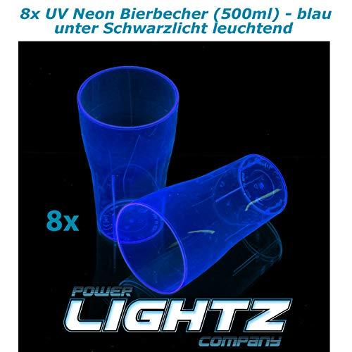 PowerLightz 8 UV Neon beker 500 ml in blauw, bier, longdrink, cocktail, cola, blacklight, glazen, meerweg, plastic