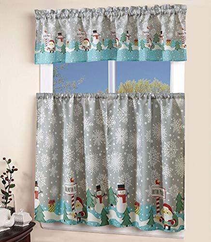 "3 Piece Kitchen Curtain Linen set - 2 Tiers 27"" W (each) x 36"" L + 1 Tailored Valance 54"" W x 15"" L, Christmas Holiday Season Kitchen Curtain Décor,Snowman Snowflake Christmas Tree Kitchen Curtain"