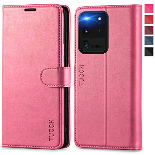 TUCCH Galaxy S20 Ultra Hülle, RFID Schutzhülle [Schützt vor Stößen] [Magnetverschluss] [Kartenfach], [Lifetime Garantie] TPU Handyhülle Lederhülle Kompatibel für Galaxy S20 Ultra 5G (6,9) Rosa