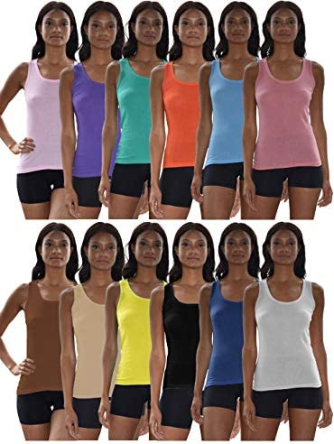 Sexy Basics Tank Tops for Women 6 Pack 12 Pack Cotton Flex Tank Tops 12 Pack Wow Solids Large product image