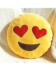 وسادة ايموجي صفراء دائرية جميلة بالرمز التعبيري المبتسم ذي العينين على شكل قلب