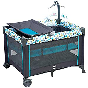 Portable Playard,Sturdy Play Yard with Comfortable Mattress and Changing Station