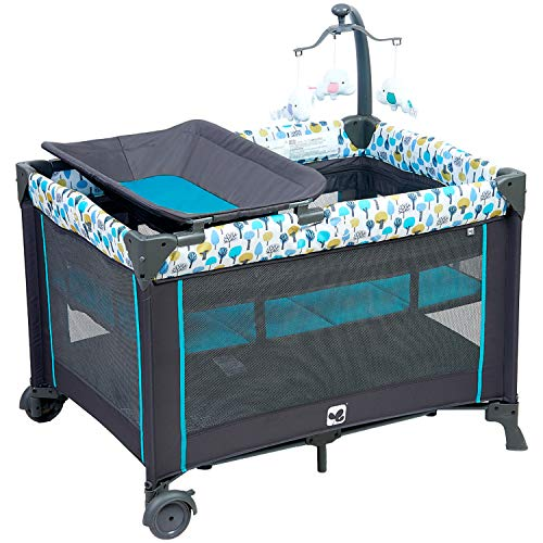 Discover Bargain Portable Playard,Sturdy Play Yard with Comfortable Mattress and Changing Station (B...