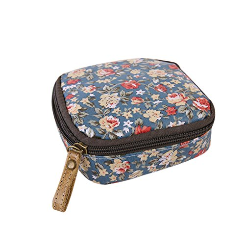 Gluckliy Mini Cosmetic Bag Makeup Pouch Sanitary Napkin Holder Storage Zipper Coin Purse Handbag (Floral)