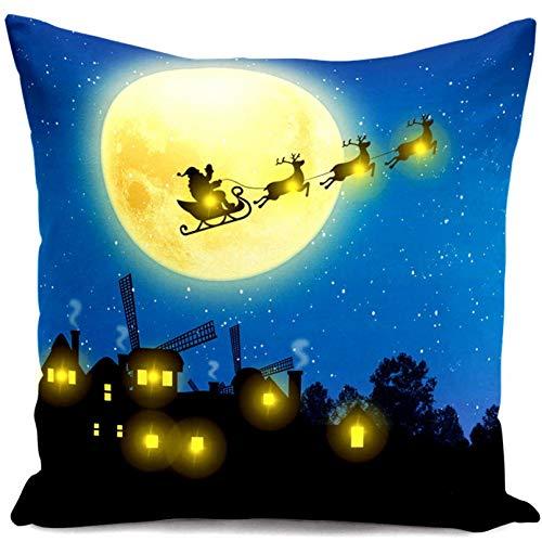 ACYKM Funda de cojín Funda de Almohada para sofá Impresión Digital Luces Navidad Funda de cojín Azul Luces de Hadas Fundas de Almohada de Felpa Corta Decoración navideña Regalos Funda de Almohada