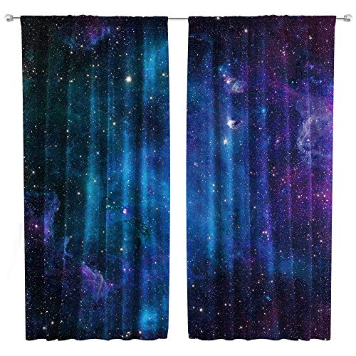 Riyidecor Blue Galaxy Curtains Space Rod Pocket (2 Panels 52 x 63 Inch) Kids Boys Nebula Cool Universe Starry Sky Black Trippy Psychedelic Planet Living Room Bedroom Window Drapes Treatment Fabric