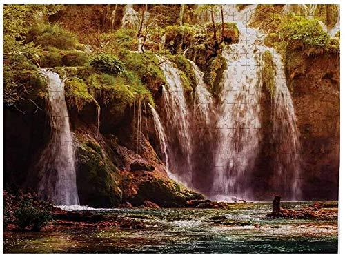 Nature Custom Puzzle 1000 Piezas, Cascada, Cascada, Bosque, árbol, Musgo, Lago, Piedras, Rocas, Maravilla del Mundo, Imagen, Verde y marrón