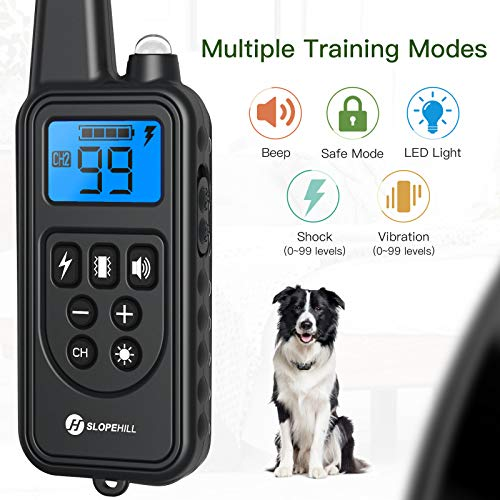 Dog Training Collar with 2600Ft Remote, Electronic Dog Collar with Beep, Vibration, Shock, Light and Keypad Lock Mode, Waterproof Electric Dog Collar Set for Small Medium Large Dogs
