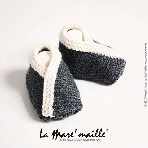 Chaussons bébé laine gris et écru tricotés main La Mare'maille